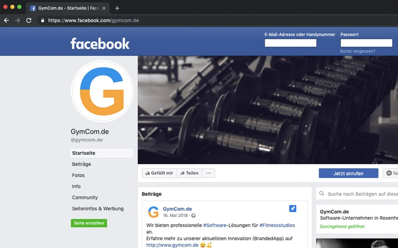 Social Media Marketing Rosenheim Facebook-Seite GymCom
